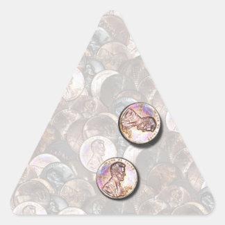 Mis dos centavos digno de (fondo aligerado) calcomanías de trianguloes personalizadas