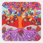 Mis flores del corazón para usted árbol de la vida calcomanía cuadrada personalizada