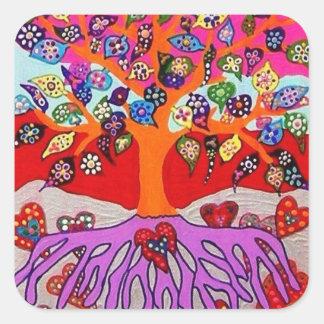Mis flores del corazón para usted árbol de la vida pegatina cuadrada