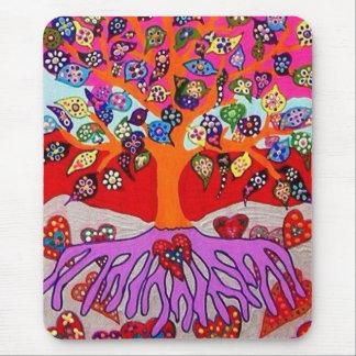 Mis flores del corazón para usted árbol de la vida alfombrilla de raton