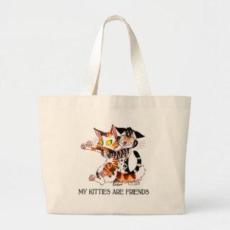 Mis gatitos son amigos bolsa tela grande