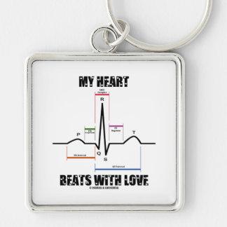 Mis golpes de corazón con el amor (electrocardiogr llavero cuadrado plateado