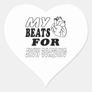 Mis golpes de corazón para el embarque de la nieve pegatinas corazon personalizadas