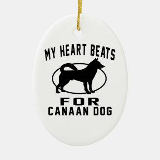 Mis golpes de corazón para el perro de Canaan Adorno Ovalado De Cerámica
