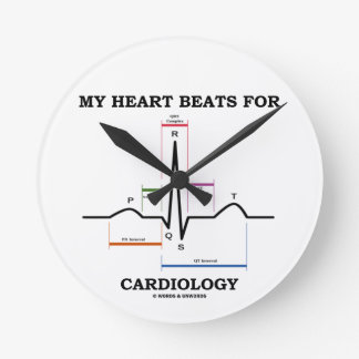 Mis golpes de corazón para la cardiología reloj redondo mediano