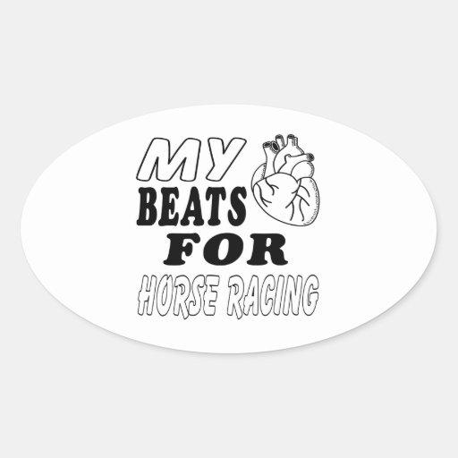 Mis golpes de corazón para la carrera de caballos calcomania óval personalizadas