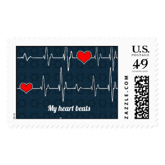 Mis golpes de corazón para usted y ECG Sello Postal