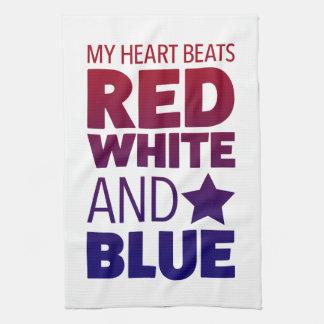 Mis golpes de corazón rojo, blanco y azul toallas de cocina