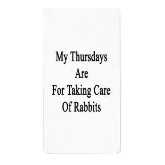 Mis jueves están para tomar el cuidado de conejos etiqueta de envío
