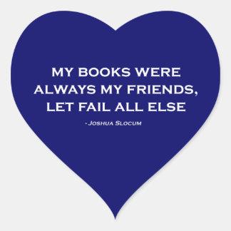 Mis libros eran siempre mis amigos pegatinas corazon personalizadas