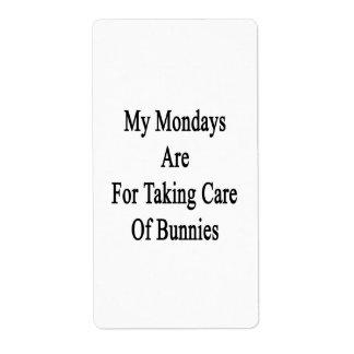 Mis lunes están para tomar el cuidado de conejitos etiqueta de envío