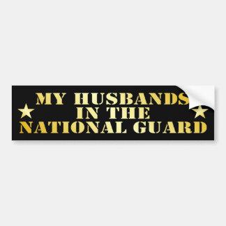 Mis maridos en el Guardia Nacional Etiqueta De Parachoque