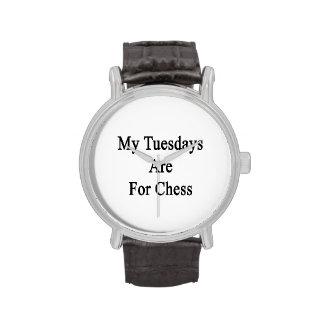 Mis martes están para el ajedrez relojes de pulsera