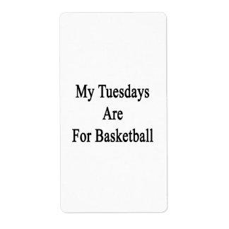 Mis martes están para el baloncesto etiquetas de envío