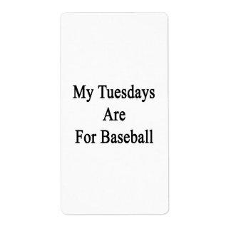 Mis martes están para el béisbol etiqueta de envío