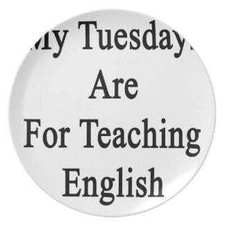 Mis martes están para el inglés de enseñanza platos de comidas