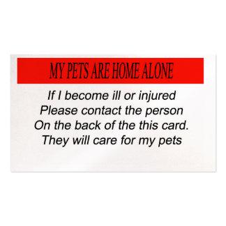 Mis mascotas son solos casero tarjetas de visita