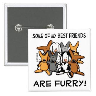 Mis mejores amigos son botón peludo pin cuadrado