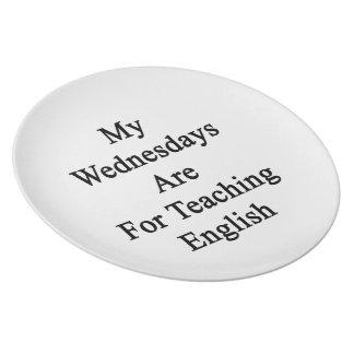 Mis miércoles están para el inglés de enseñanza plato de cena