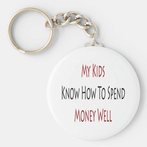 Mis niños saben pasar el dinero bien llavero redondo tipo pin