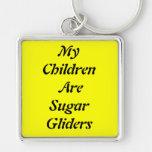Mis niños son planeadores del azúcar llavero cuadrado plateado