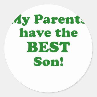 Mis padres tienen el mejor hijo pegatina redonda
