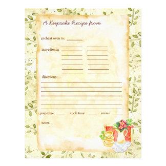 Mis páginas de las recetas del recuerdo membretes personalizados