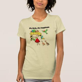 Mis pájaros mi dibujo animado lindo de la camisetas
