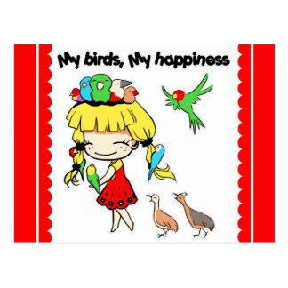 Mis pájaros mi dibujo animado lindo de la postales