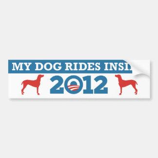 Mis paseos Obama interior 2012 del perro Pegatina De Parachoque