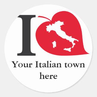 Mis pegatinas italianos de la ciudad pegatina redonda
