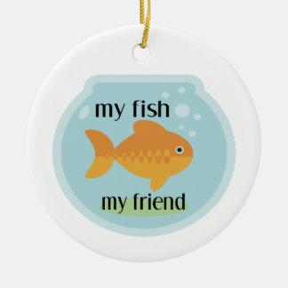 Mis pescados mi amigo adorno navideño redondo de cerámica