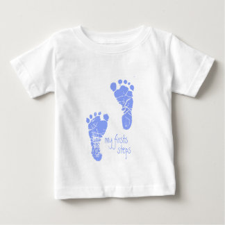 Mis primeros pasos - azul playera de bebé