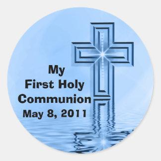 Mis primeros pegatinas de la comunión santa pegatinas redondas