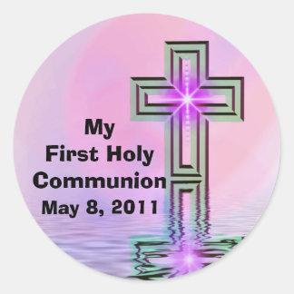 Mis primeros pegatinas de la comunión santa pegatina redonda