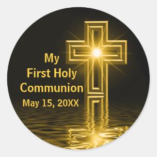 Mis primeros pegatinas de la comunión santa etiquetas redondas