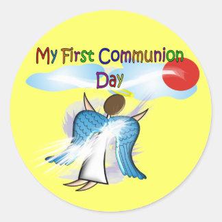 Mis primeros regalos del día de la comunión pegatina redonda