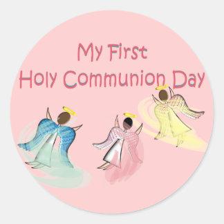 Mis primeros regalos del día de la comunión santa pegatina redonda