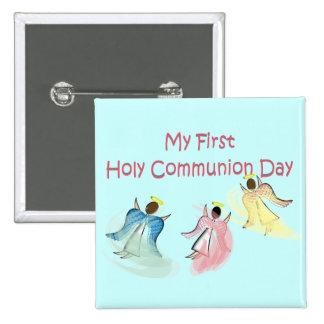 Mis primeros regalos del día de la comunión santa pin cuadrado