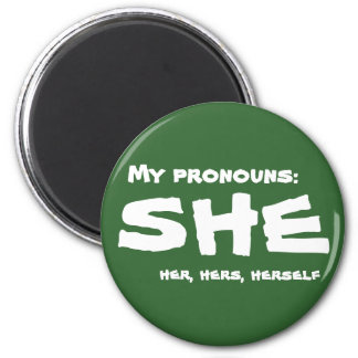 Mis pronombres ella imán redondo 5 cm