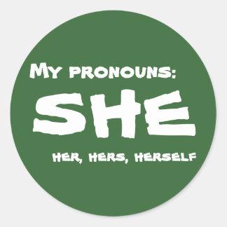 Mis pronombres ella etiquetas redondas