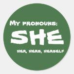 Mis pronombres ella pegatina redonda