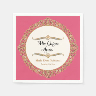 Mis Quince Anos Birthday Party Celebration Decor Disposable Napkin