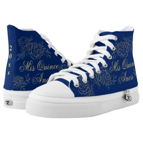 Mis Quince Anos Elegant Blue Gold Quinceanera High-Top Sneakers