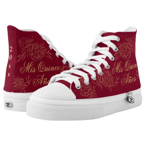 Mis Quince Anos Elegant Burgundy Gold Quinceanera High-Top Sneakers