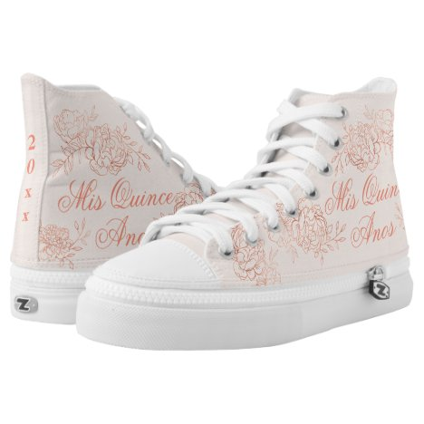 Mis Quince Anos Elegant Pink Rose Gold Quinceanera High-Top Sneakers