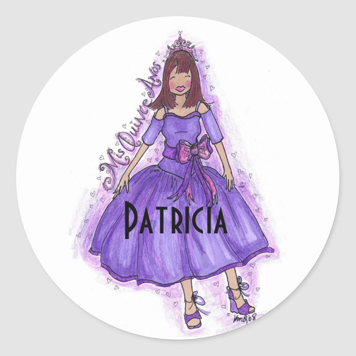 Mis quince anos purple classic round sticker zazzle - Mis 50 anos ...
