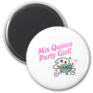 Mis Quince Party Girl 2 Inch Round Magnet
