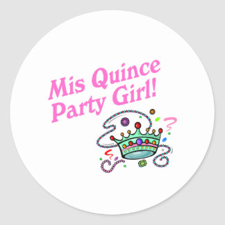 Mis Quince Party Girl Round Stickers