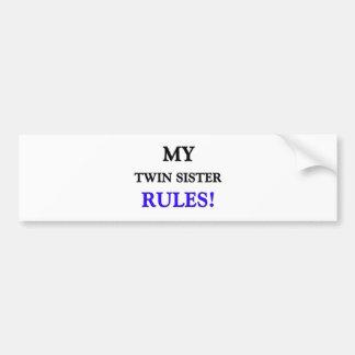 Mis reglas de la hermana del gemelo etiqueta de parachoque